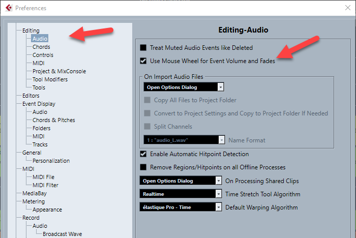 Cubase Preferences: Use Mouse Wheel for Event Volume
