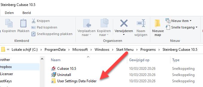 Afbeelding User Settings Data Folder