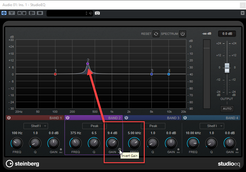 Afbeelding: Invert Gain Before in Studio EQ in Cubase