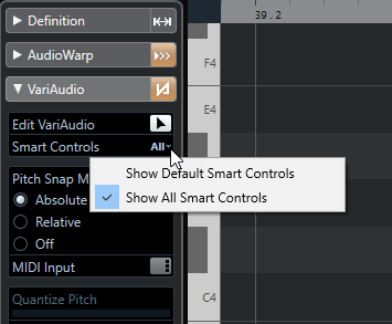 Afbeelding: Smart Controls in Cubase