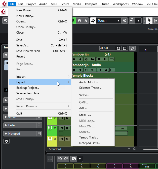 Afbeelding van Export Audio Menu in Cubase